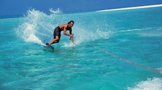 A man water skiing in Maldives
