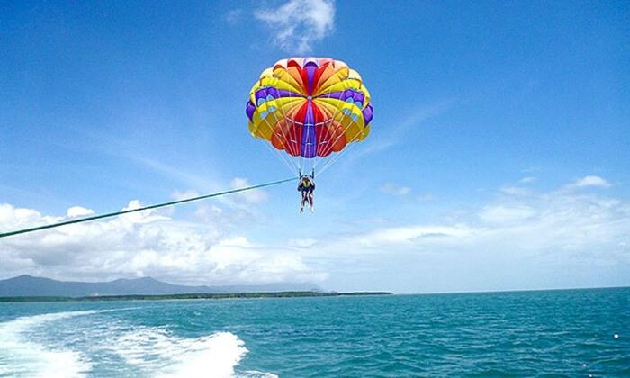 Tourist enjoying Parasail in Maldives